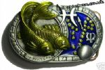 PISCES THE FISH, ZODIAC HOROSCOPE SIGN BELT BUCKLE + display stand